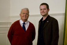 Ian with Bruce Kent after Chairing his meeting on nuclear weapons.